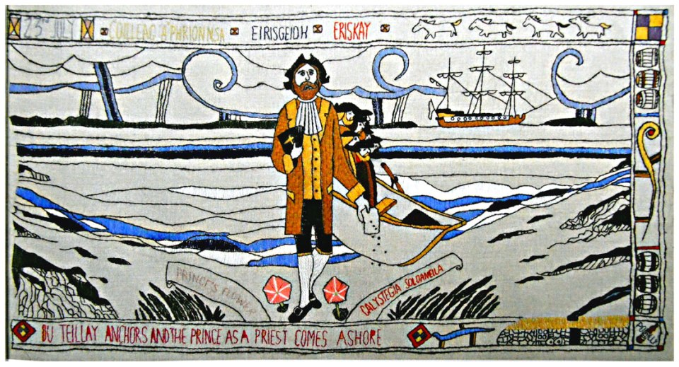 Prestonpans-Tapestry-Panel-8-The-Prince-comes-ashore-at-Eriskay-©-2013-Scotiana